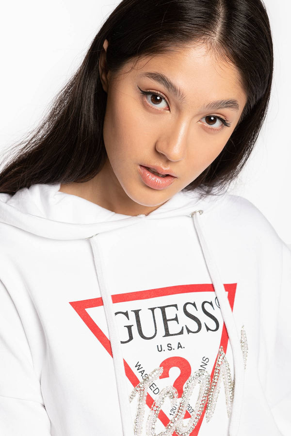 #00031  Guess Bluse HOODY ICON FLEECE W0BQ04K68I0-TWHT WHITE