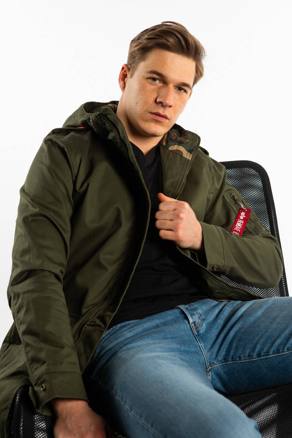 #00002  Alpha Industries Jacke HOODED COAT TEFLON 142 DARK OLIVE
