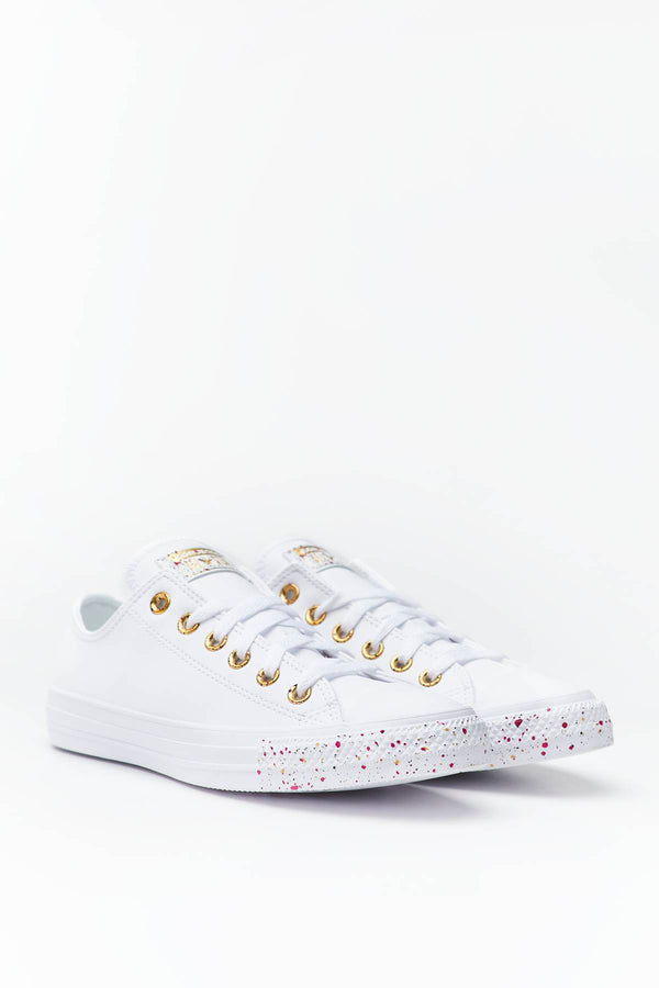 #00073  Converse Turnschuhe CHUCK TAYLOR ALL STAR SPECKLED 728 WHITE/GOLD/ROSE MAROON