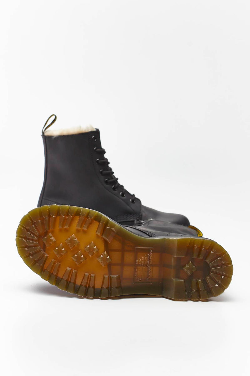 #00061  Dr.Martens High-Top Schuhe FUR-LINED 1460 SERENA BLACK BURNISHED BLACK BURNISHED