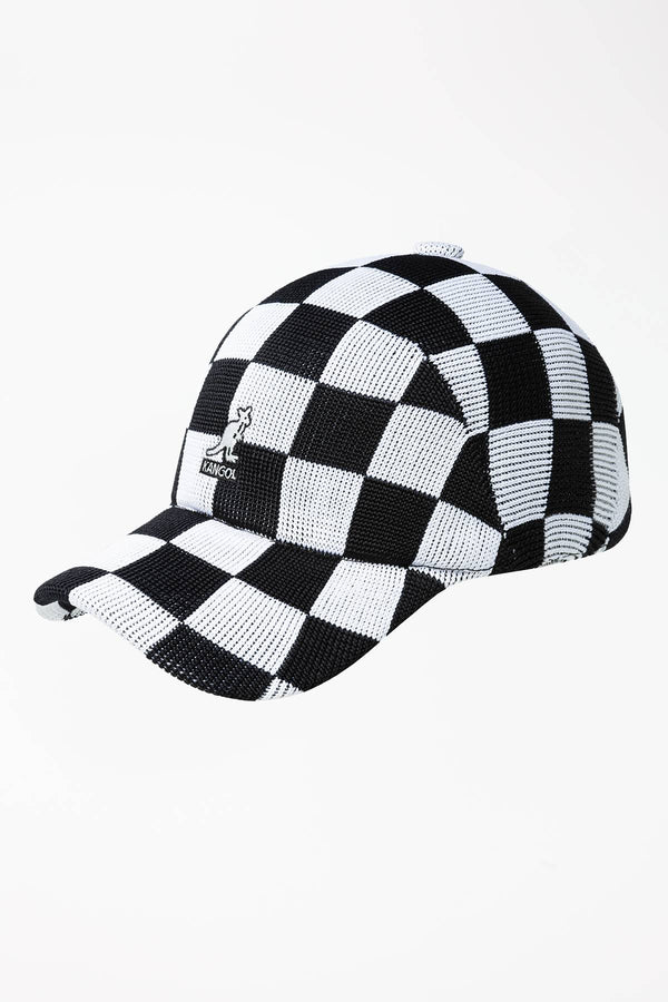 #00008  Kangol CHECKERED TROPIC ADJ SPACECAP BK001 BLACK