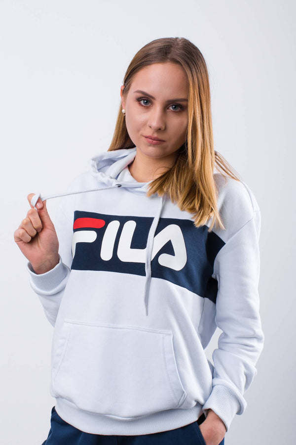 #00093  Fila Bluse WOMEN LORI HOODIE SWEAT I98 BRIGHT WHITE/BLACK IRIS