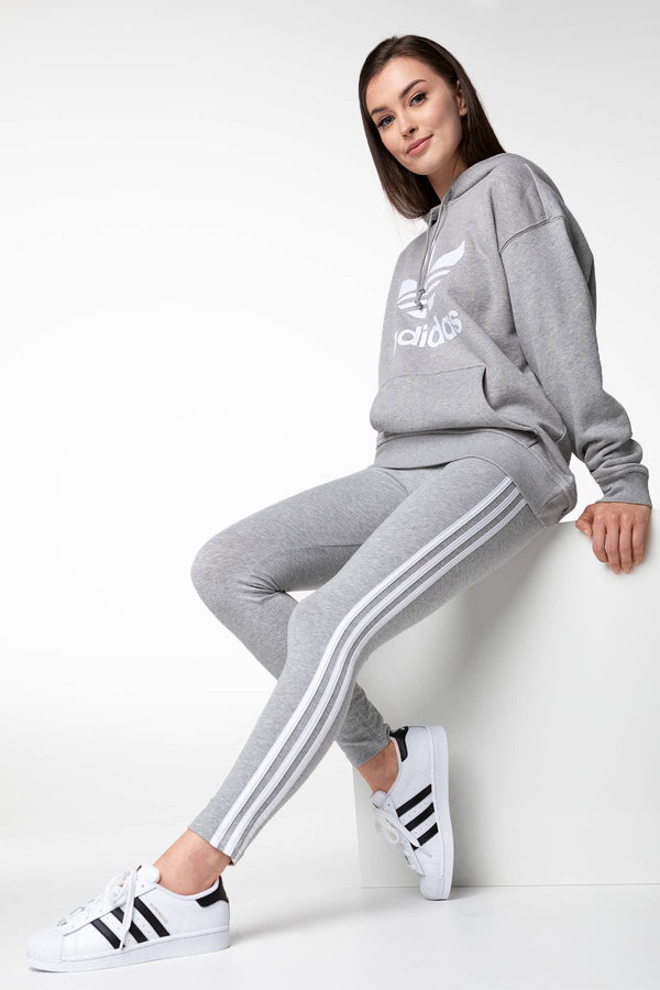 #00033  adidas Leggins W ESSENTIAL 3-STRIPES 123 MEDIUM GREY/WHITE
