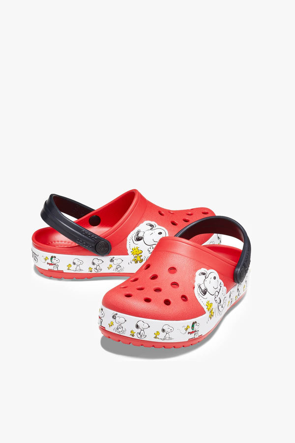 #00029  Crocs Pantoffeln CROCSY SNOOPY WOODSTOCK CLOG KIDS FLAME 206176-8C1 RED/BLACK/WHITE