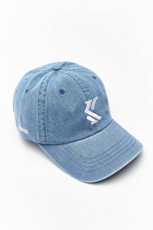 #00027  Karl Kani DENIM CAP 215 BLUE/WHITE