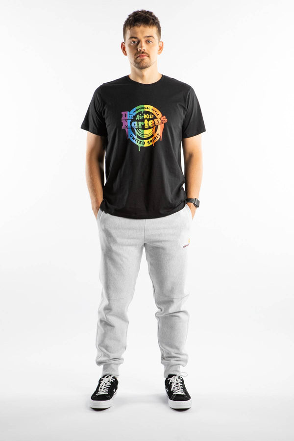 #00097  Dr.Martens T-Shirt LOCK UP LOGO T-SHIRT 002 BLACK/RAINBOW