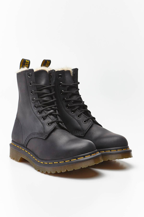 #00044  Dr.Martens High-Top Schuhe FUR-LINED 1460 SERENA BLACK BURNISHED