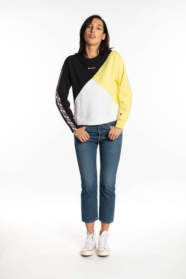 #00008  Champion Bluse CREWNECK SWEATSHIRT KK001 BLACK/YELLOW/WHITE