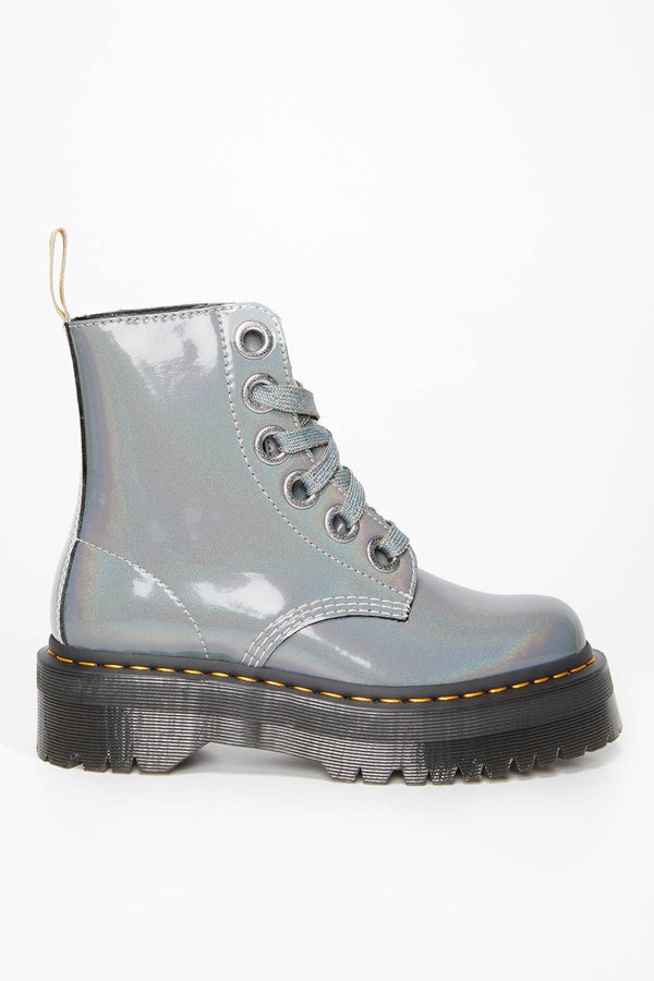 #00034  Dr.Martens High-Top Schuhe Vegan Molly Prysm SILVER