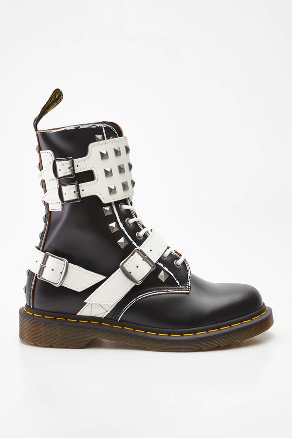 #00041  Dr.Martens High-Top Schuhe 1490 JOSKA STUD BLACK/WHITE ROLLED VINTAGE