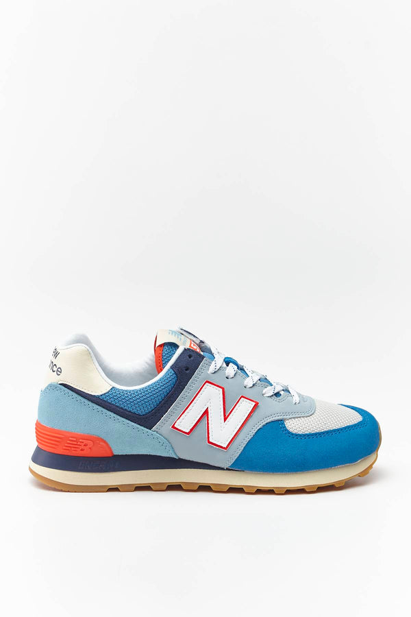 #00031  New Balance Sneakers ML574SOS MAKO BLUE WITH TURTLE DOVE/NEO FLAME