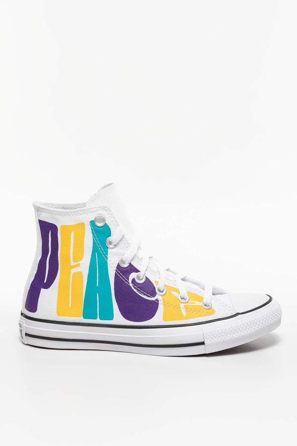 #00060  Converse Turnschuhe CHUCK TAYLOR PEACE 892 WHITE/COURT PURPLE/AMARILLO