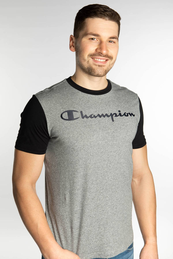 #00025  Champion T-Shirt CREWNECK T-SHIRT EM524 GREY/BLACK