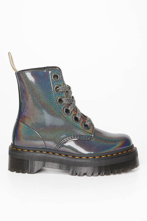 #00042  Dr.Martens High-Top Schuhe Vegan Molly Prysm GUNMETAL