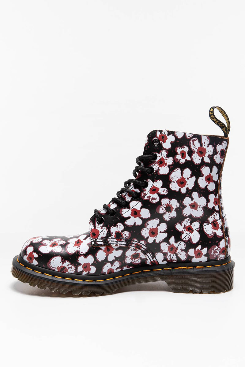 #00017  Dr.Martens High-Top Schuhe MARTENSY 1460 PASCAL PANSY FAYRE BLACK RED DM26456002 BLACK RED