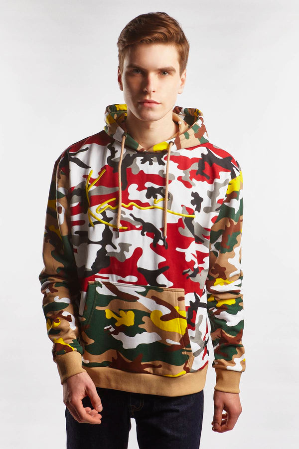 #00002  Karl Kani Bluse SIGNATURE CAMO HOODIE 334 BURGUNDY/WHITE/BLACK/YELLOW/BROWN