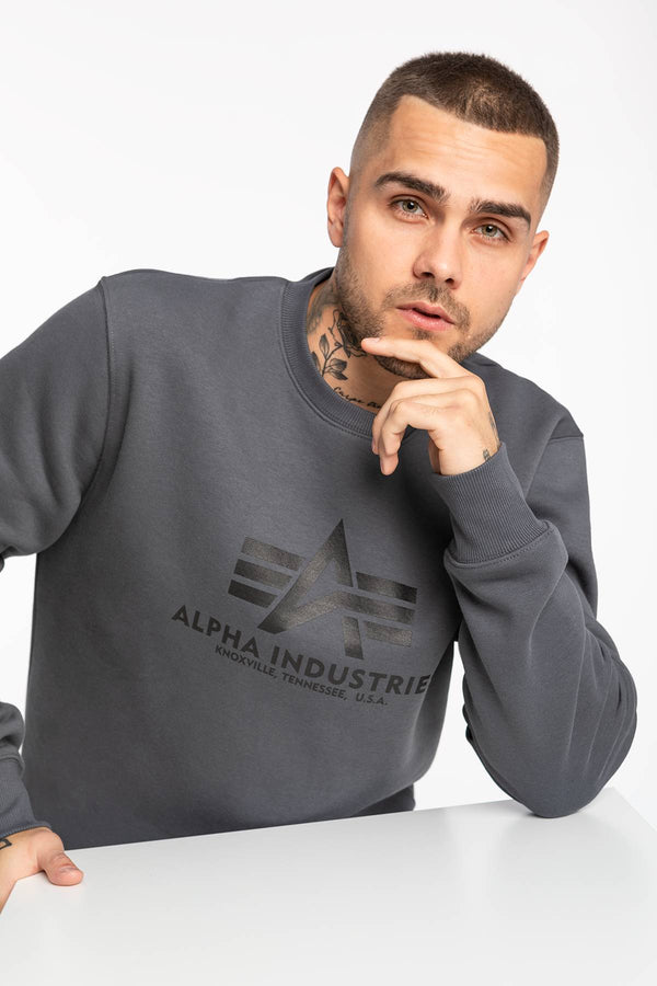 #00139  Alpha Industries Bluse Basic Sweater 178302-412 GREYBLACK/BLACK