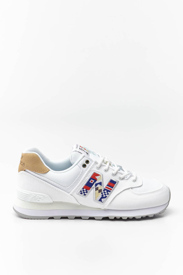 #00027  New Balance Sneakers WL574SOD WHITE WITH INCENSE