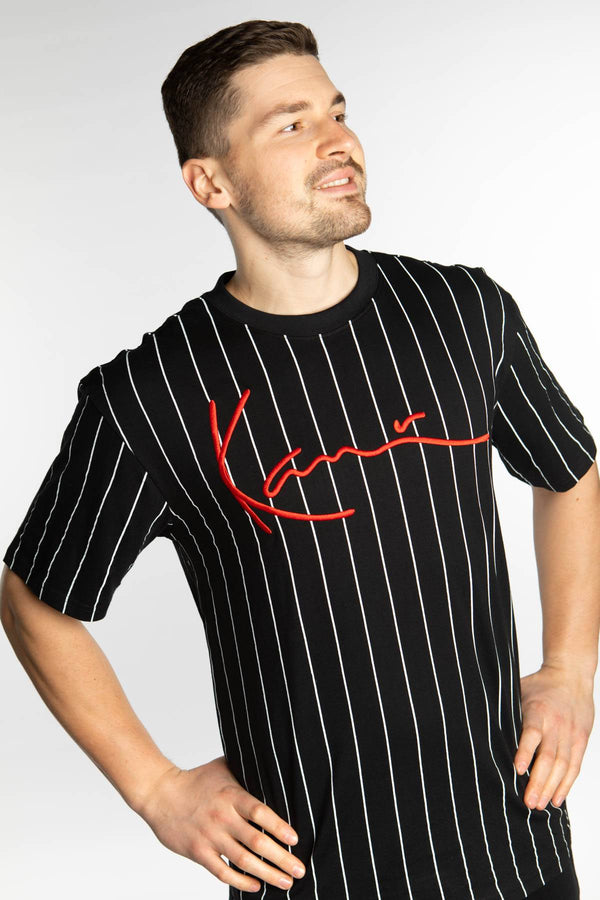 #00015  Karl Kani T-Shirt SIGNATURE PINSTRIPE TEE 587 BLACK/WHITE/RED