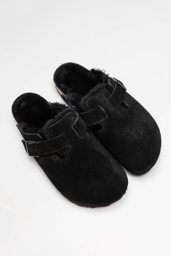 #00003  Birkenstock Pantoffeln Boston FUR VL 259883 Black