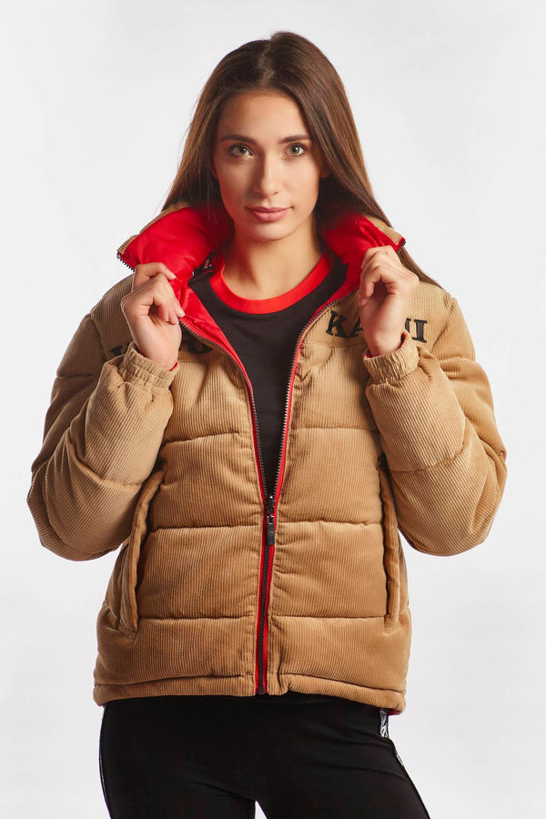 #00004  Karl Kani Jacke RETRO REVERSIBLE CORD PUFFER JACKET 167 CAMEL/RED