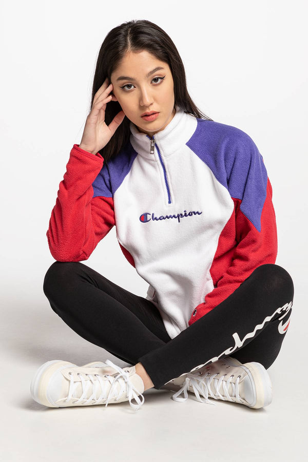 #00006  Champion Bluse High Neck Top 113347-WW001 WHITE/VIOLET/RED