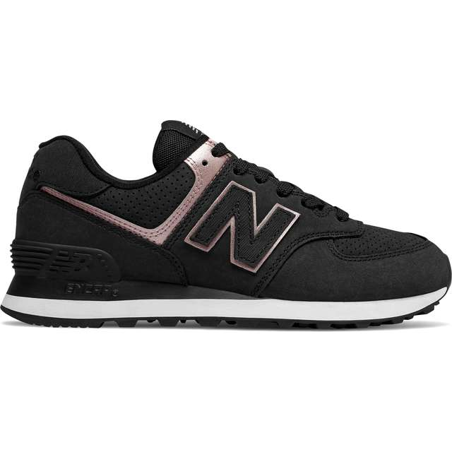#00059  New Balance Sneakers WL574NBK BLACK WITH CHAMPAGNE METALLIC