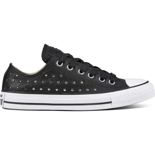 13706 Converse Turnschuhe CHUCK TAYLOR ALL STAR LEATHER BLACK BLACK SILVER d54af74fa