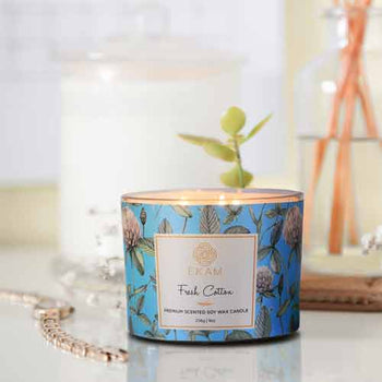 Fresh Cotton 3 Wick Soy Wax Scented Candle