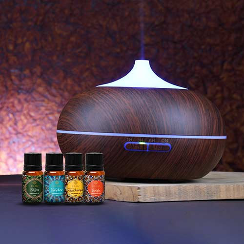 Ultrasonic Aroma Diffuser with 4 Mandala Series Fragrance Oils (GX-12K DW)