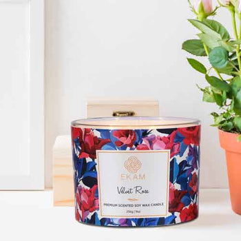 Velvet Rose 3 Wick Soy Wax Scented Candle