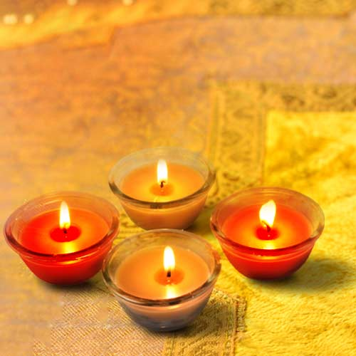 Scented Glass Diya Candles, Set of 4