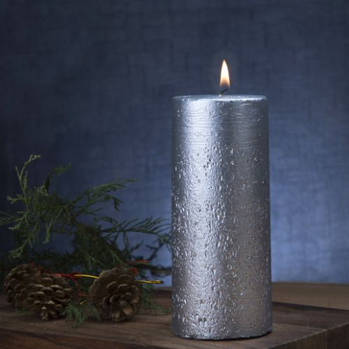 Unscented Silver Lacquered Pillar Candle, 398gms