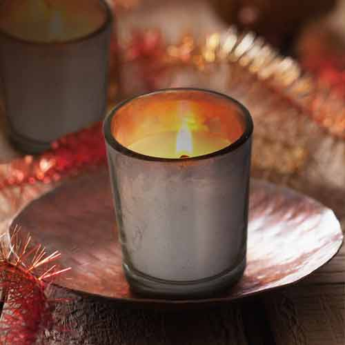 Mahogany Shot Glass Candle, Silver Metallic Finish