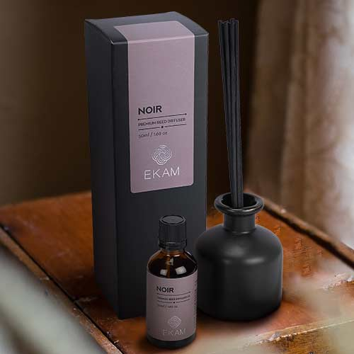 Noir Premium Reed Diffuser Set, Manly Indulgence Series