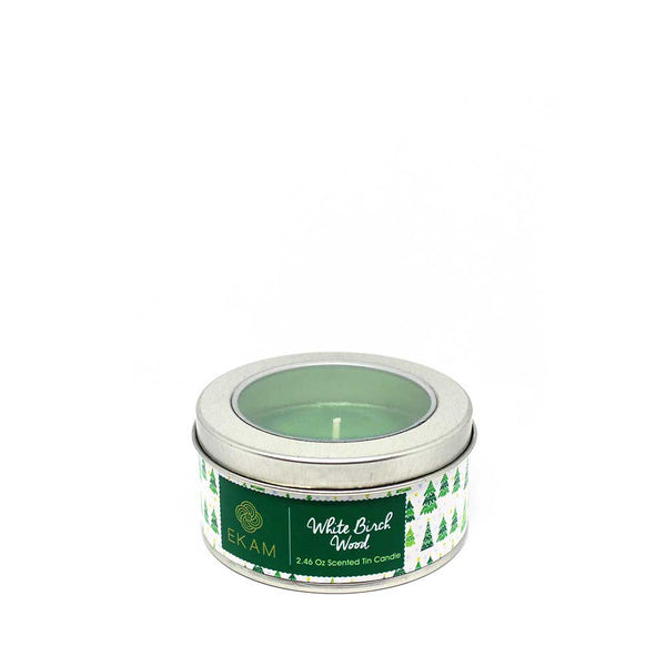 Winter Birch Wood Tin Scented Candle, 70gms