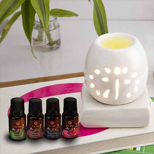 Electric Oil Warmer with Free 4 Pack Fragrance Oil (COB-242 WHITE)