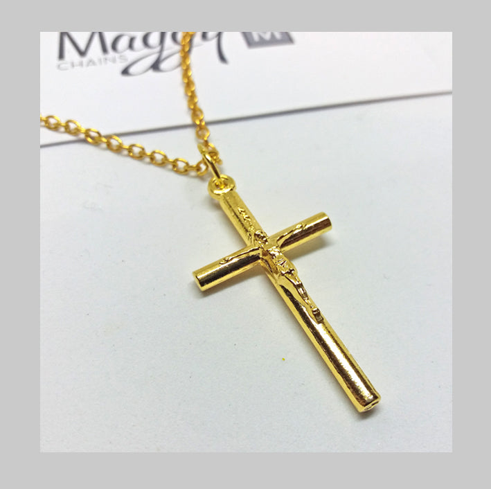MADE IN ITALY GOLD PLATED CRUCIFIX PENDANT NECKLACE #003