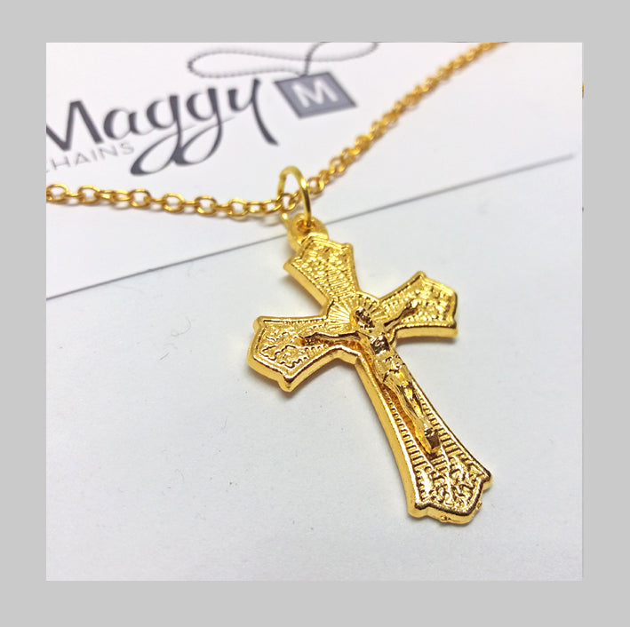 MADE IN ITALY GOLD PLATED BIG CRUCIFIX PENDANT NECKLACE #005