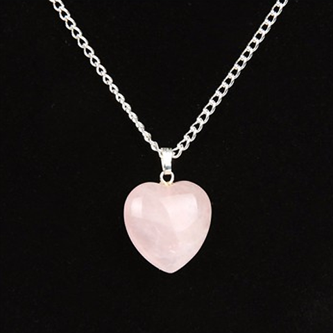 "Collier ""Amour"" en Quartz Rose"