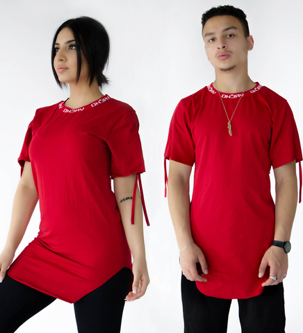 LONGLINE DRAWSTRING TEE - WHITE/RED