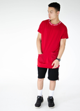 LONGLINE POCKET TEE - WHITE/RED