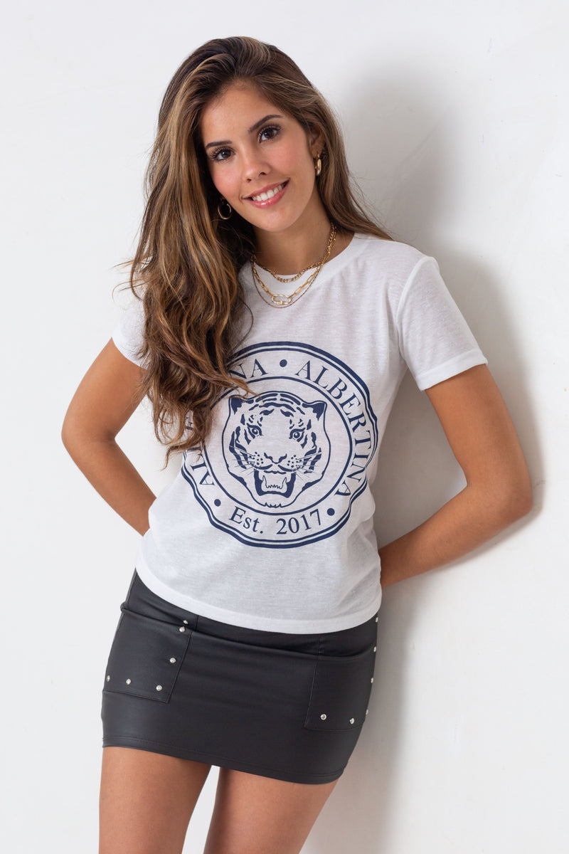Remera Long Tiger Crown Nature Blanc
