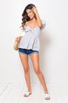Blusa Carlotta Bow Strippy Sky