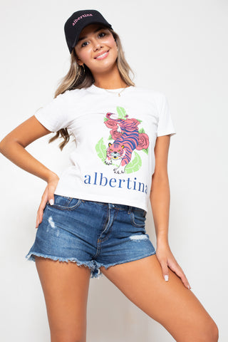 Remera Albertina Merci Nature Blanc