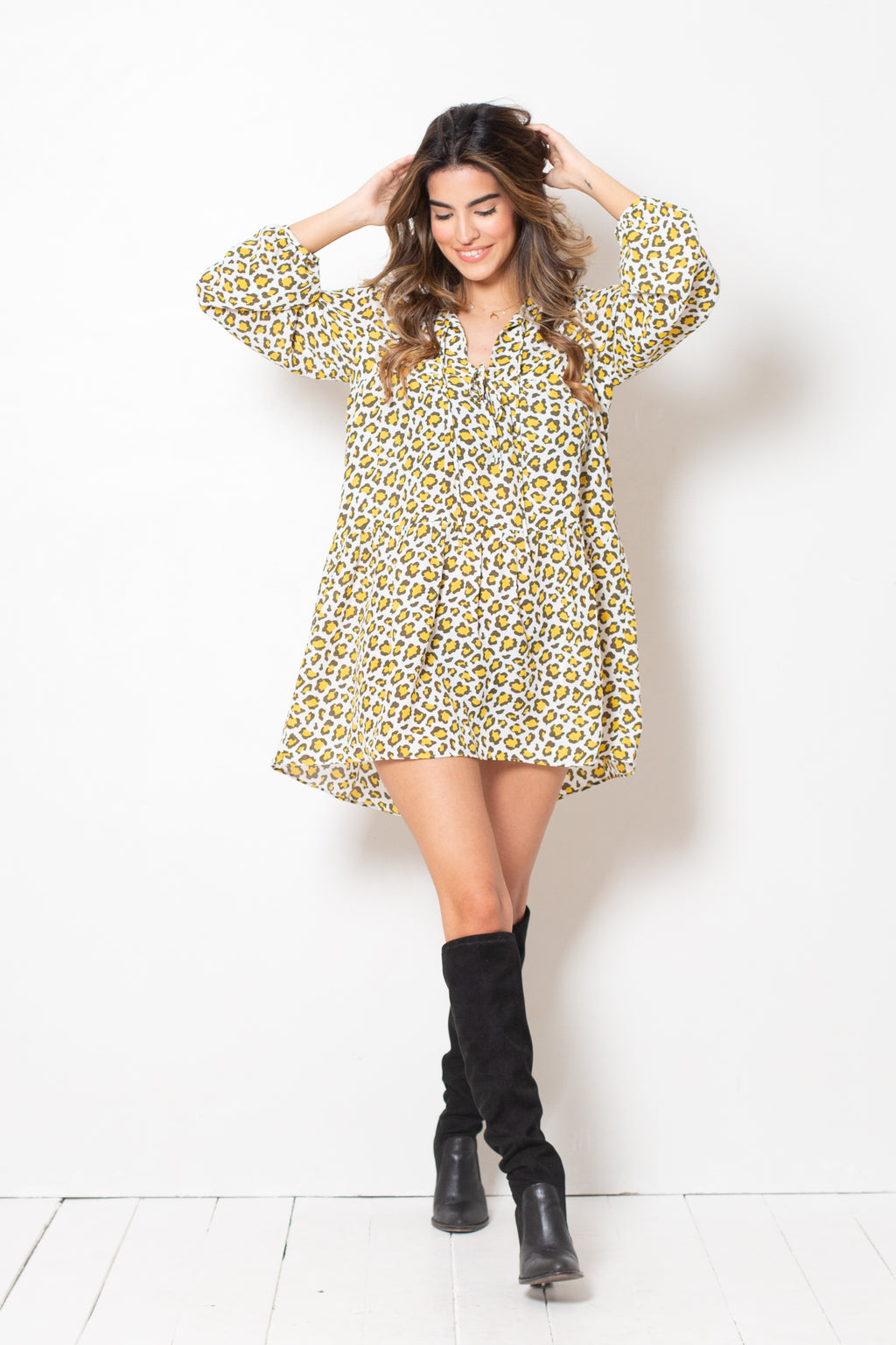 Vestido Nicole Yellow Cheetah