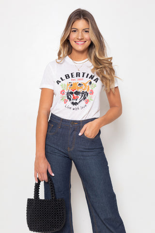 Remera Albertina Tiger Blanc
