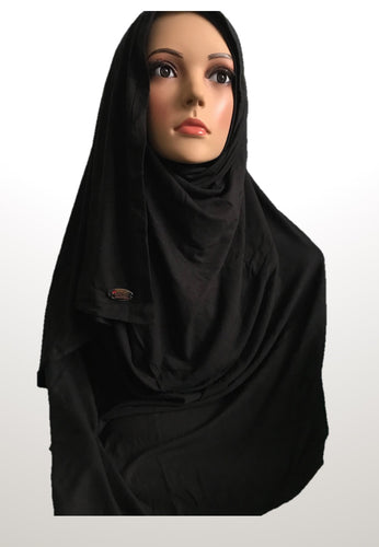 Black stretchy (COT) Instant hijab SF