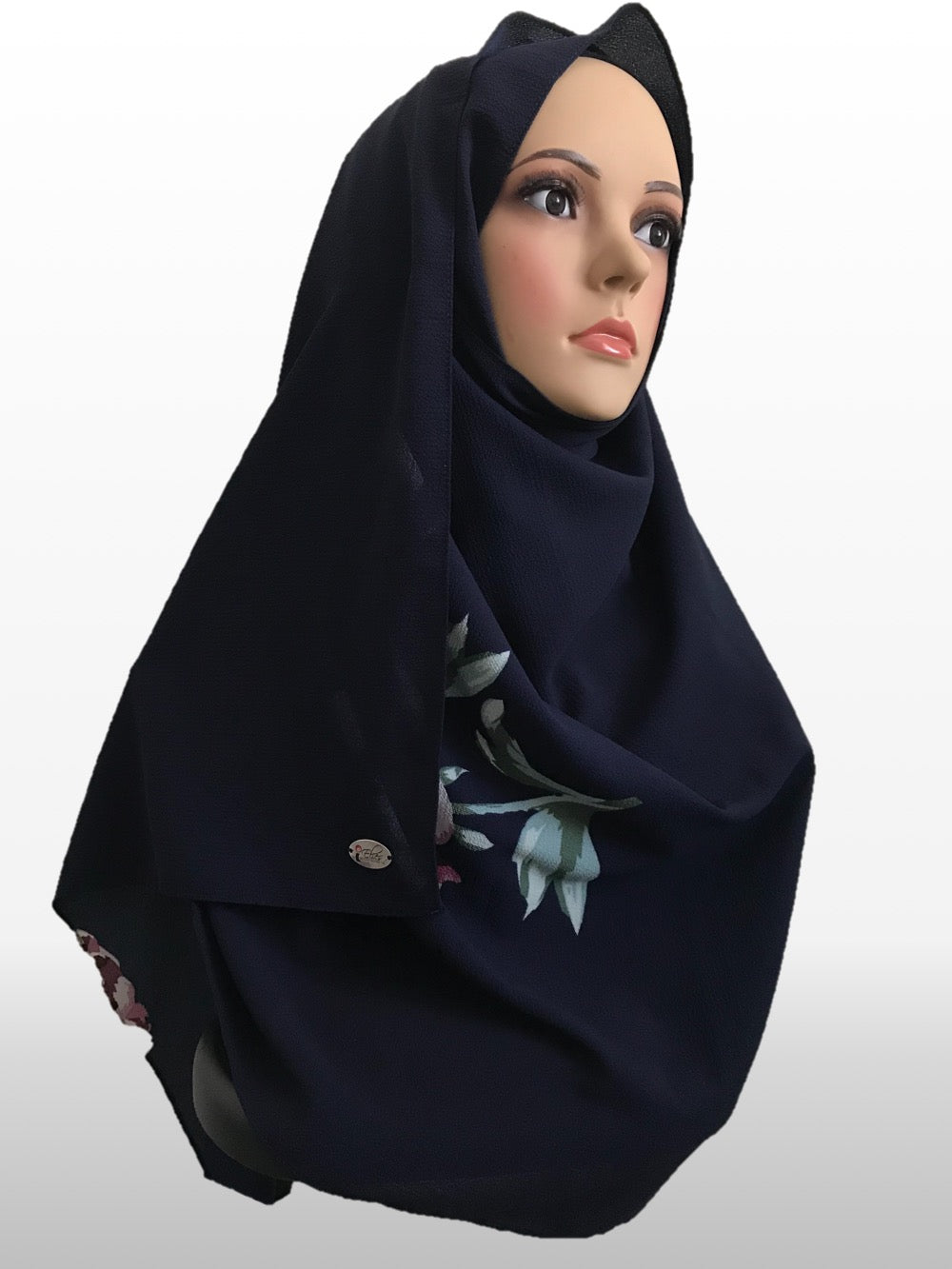 Big Flower dark blue instant hijab
