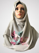 Big flower soft grey instant hijab